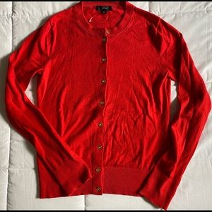 JCrew Candy Apple Red Cardigan never worn